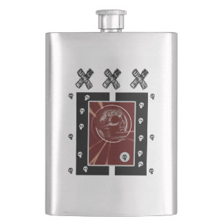 Skull Square Red/Black XXX 2 Hip Flask