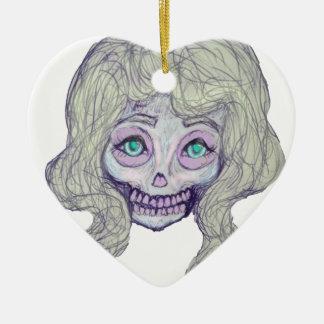 skull sugar pastel -her26- ceramic heart ornament