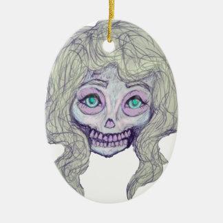 skull sugar pastel -her26- ceramic oval ornament