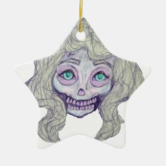 skull sugar pastel -her26- ceramic star ornament