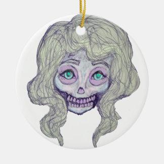 skull sugar pastel -her26- round ceramic ornament