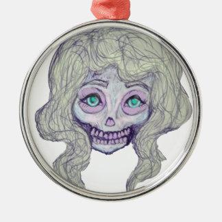 skull sugar pastel -her26- Silver-Colored round ornament
