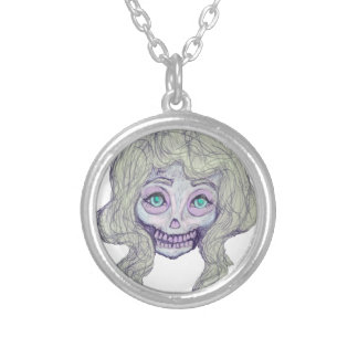 skull sugar pastel -her26- silver plated necklace
