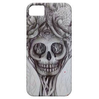 skull tattoo style iPhone tree roots head art iPhone 5 Case