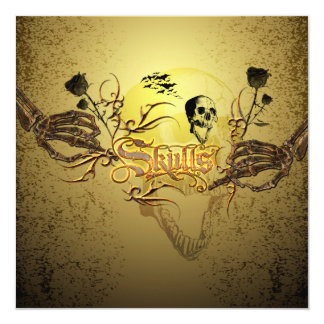 """Skull the word with funny skull, roses 5.25"""" square invitation card"""