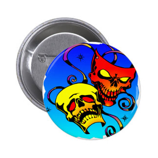 Skull Theater Masks Comedy and Tragedy 2 Inch Round Button