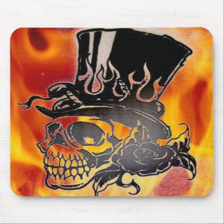 Skull Top Hat Flames & Roses Mousepad