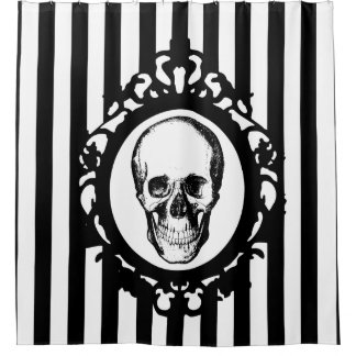 Skull Victorian Cameo Black & White Stripes Print