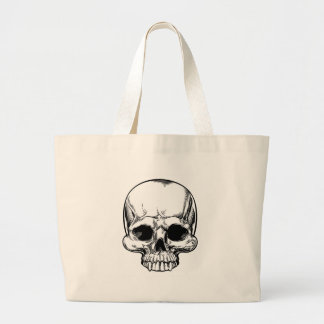 Skull Vintage Retro Woodcut Etched Engraved Style Large Tote Bag