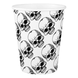 Skull Vintage Retro Woodcut Etched Engraved Style Paper Cup