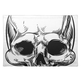Skull Vintage Retro Woodcut Etched Engraved Style Placemat