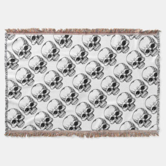 Skull Vintage Retro Woodcut Etched Engraved Style Throw Blanket