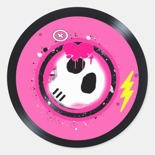Skull Vinyl record sticker