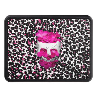 Skull w/Pink Flowers on Pink Leopard Print Hitch Covers