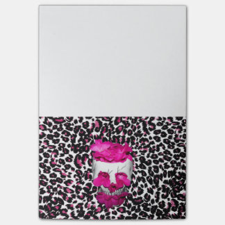 Skull w/Pink Flowers on Pink Leopard Print Post-it® Notes