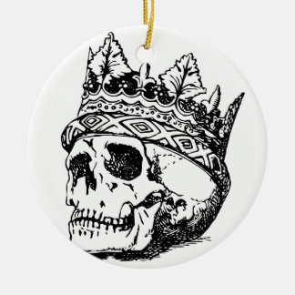 Skull Wearing Crown, King Round Ceramic Ornament