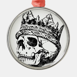 Skull Wearing Crown, King Silver-Colored Round Ornament