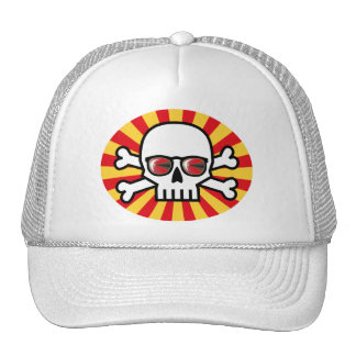 Skull wearing red sunglasses trucker hat