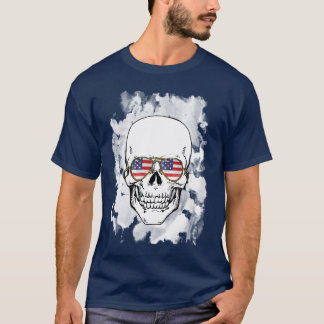 Skull wearing Stars and Stripes Sunglasses T-Shirt