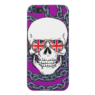 Skull wearing Union Jack sunglasses with chains iPhone 5 Case