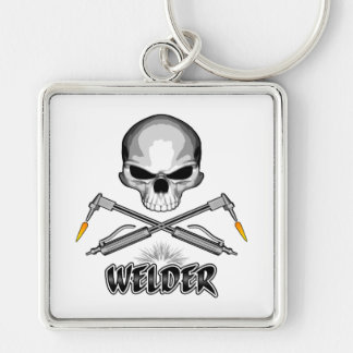 Skull Welder and Crossed Torches Keychain
