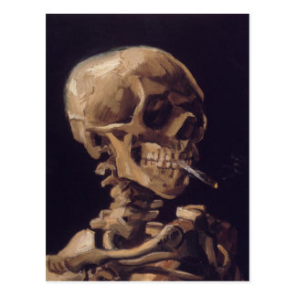 Skull with a Burning Cigarette Postcard