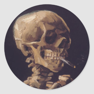 Skull with a Burning Cigarette - Vincent Van Gogh Classic Round Sticker