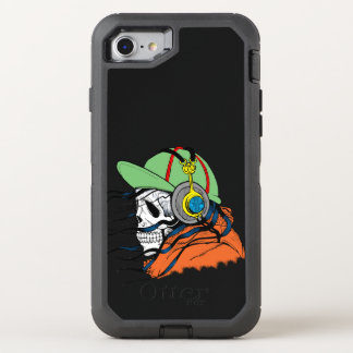 Skull with ball hat and orange jacket OtterBox defender iPhone 7 case
