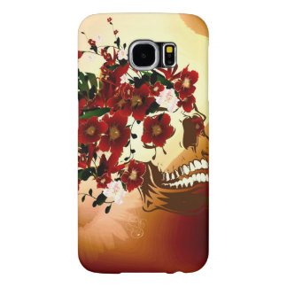 Skull with beautiful flowers samsung galaxy s6 cases