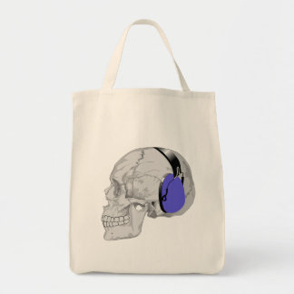 SKULL WITH BLUE HEADPHONES