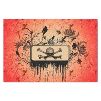 Skull with bones and floral elements tissue paper