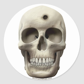 Skull with Bullet Hole Classic Round Sticker