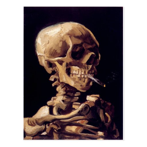 Skull with burning cigarette Painting Van Gogh Postcards