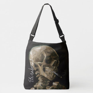Skull with Burning Cigarette Van Gogh Goth Artwork Crossbody Bag
