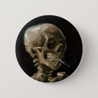Skull with Burning Cigarette Vincent van Gogh Art 2 Inch Round Button