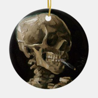 Skull with Burning Cigarette Vincent van Gogh Art Round Ceramic Ornament