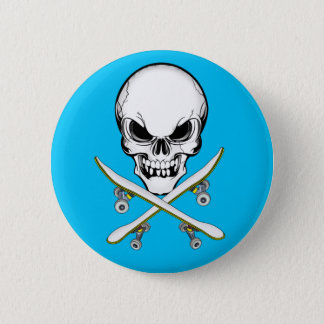 Skull with Cross Skateboards Blue  Button