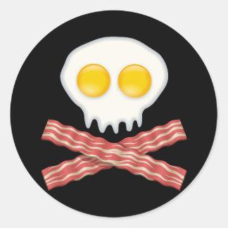 Skull With Crossed Bacon  Skull Bacon Eggs Round Sticker