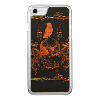 Skull with crow and floral elements carved iPhone 7 case