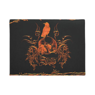 Skull with crow and floral elements doormat