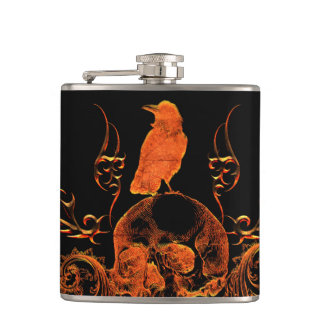 Skull with crow hip flask