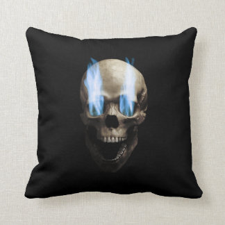 Skull with flaming eyes throw pillow