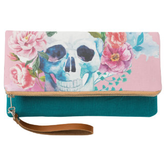 SKULL WITH FLOWERS CLUTCH BAG