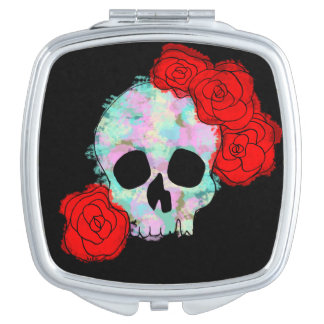 Skull with Flowers Compact Mirror
