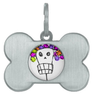 skull with flowers pet ID tag