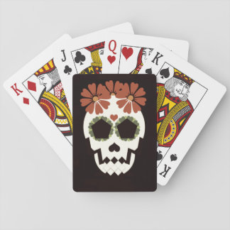 Skull With Flowers Playing Cards