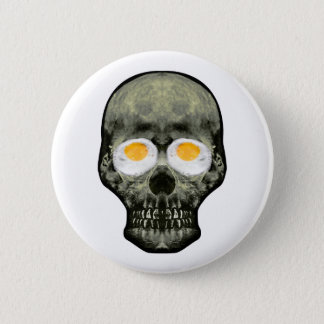 Skull with Fried Egg Eyes 2 Inch Round Button