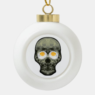 Skull with Fried Egg Eyes Ceramic Ball Christmas Ornament