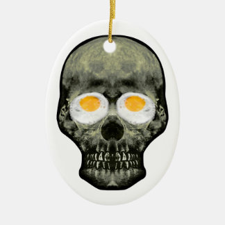 Skull with Fried Egg Eyes Ceramic Ornament
