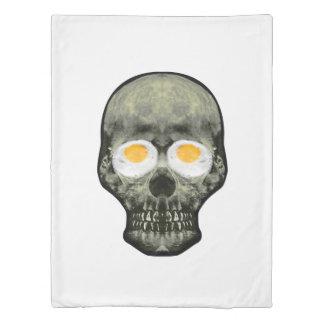 Skull with Fried Egg Eyes Duvet Cover